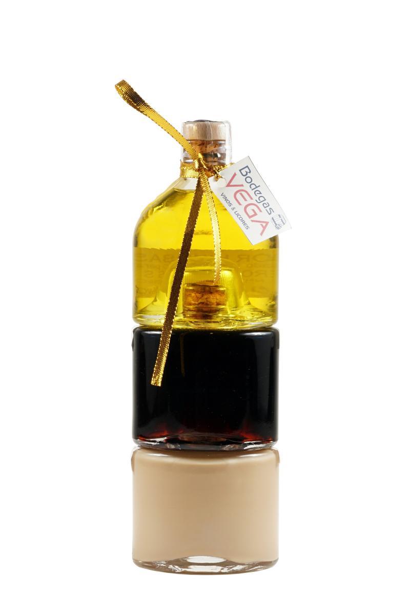 Botella Apilable Licor de Hierbas, Crema de Licor y Licor café